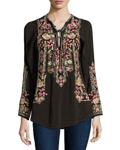 45a1652c65b ... Shiro Printed Button-Front Silk Tunic, Multi. Women's Apparel on Sale  at Neiman Marcus. JOHNNY WAS FABIO EMBROIDERED BLOUSE, DARK COCOA, PLUS SIZE .