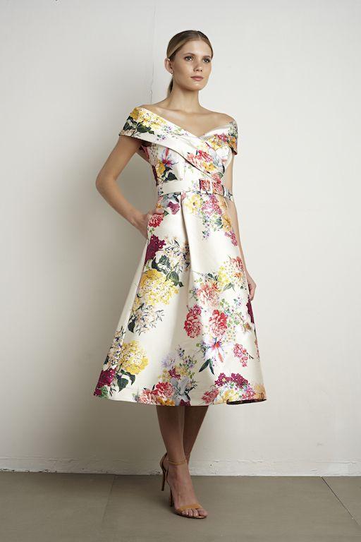 2f394b555e Vestido midi em zibeline estampada floral