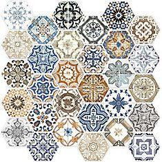 marrakesh glass hexagon mosaics tile