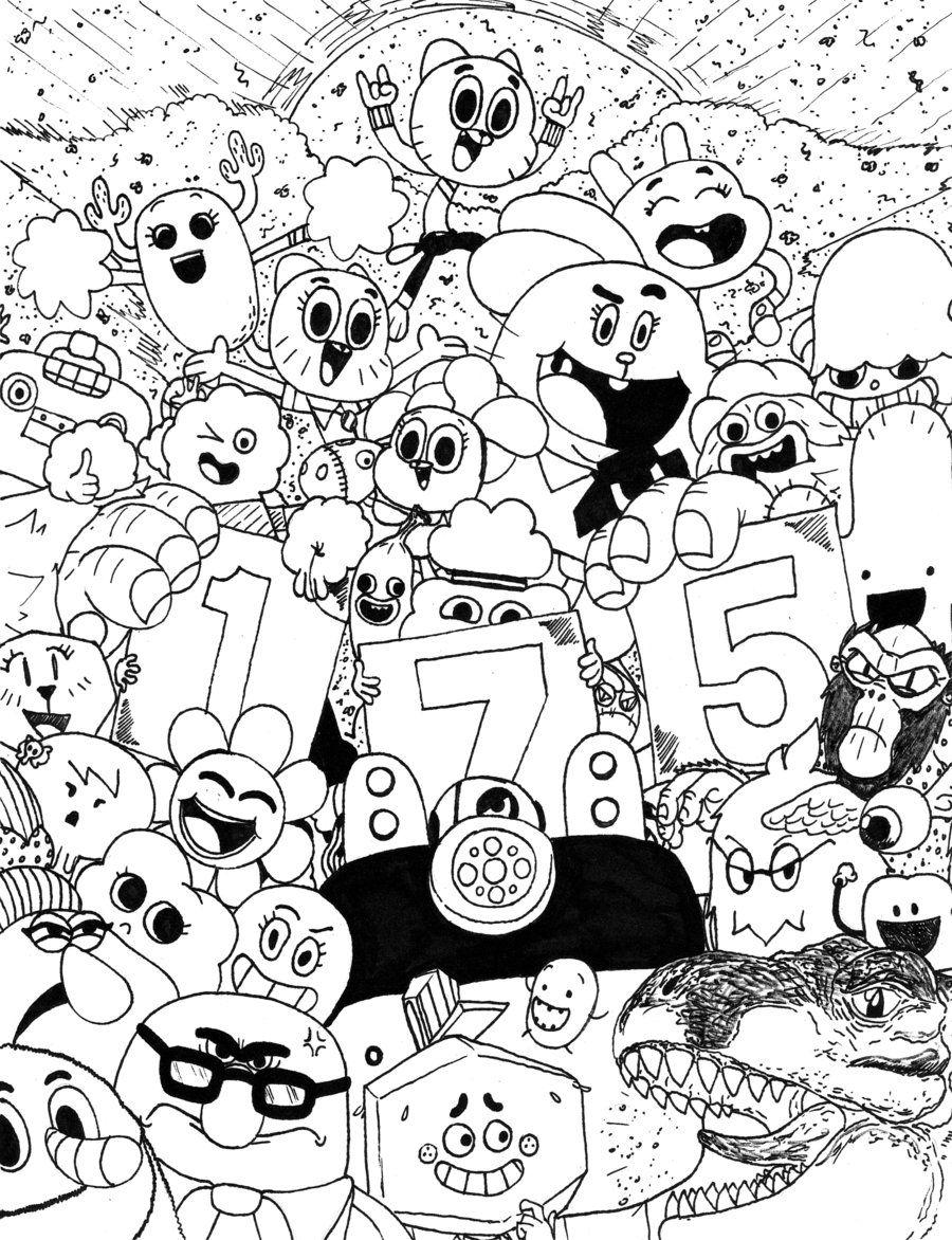 Free coloring page gumball machine - The Amazing World Of Gumball Casts Web Desingcoloring Sheetsadult