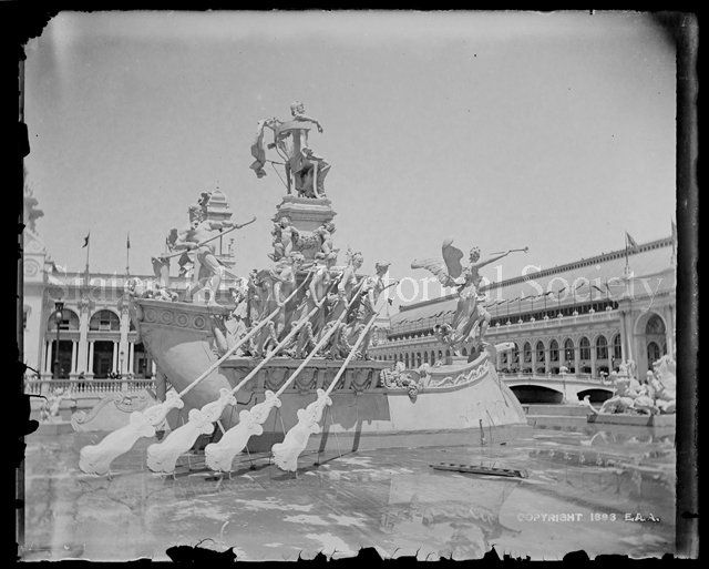 Negative, Glass-plate: McMonnies Fountain, Columbian Exposition, photo by Alice Austen, 1893 (Staten Island Historical Society, catalog number 50.015.5271)