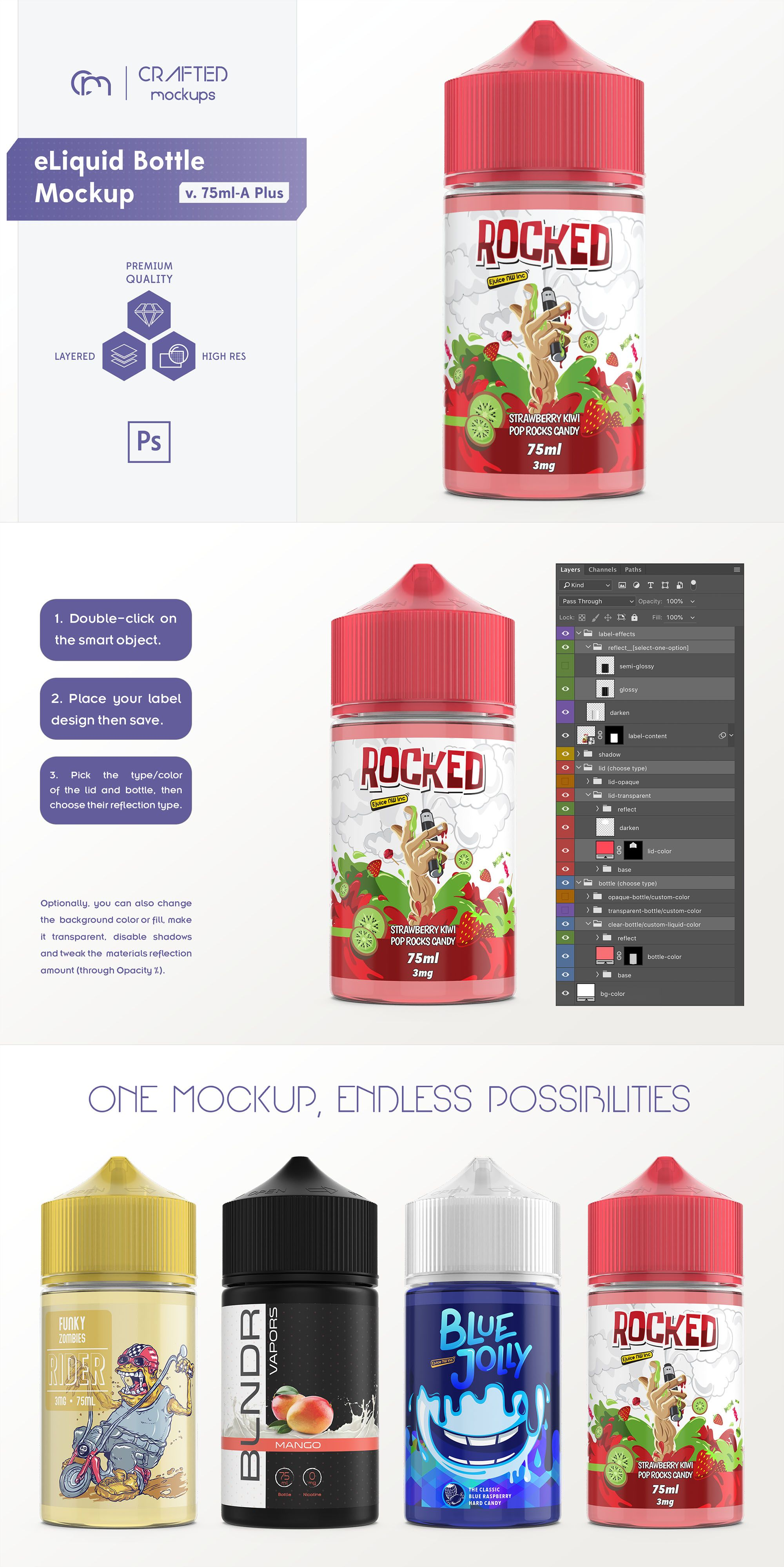 Eliquid Bottle Mockup V 75ml A Plus Bottle Mockup Bottle Label Template Label Templates