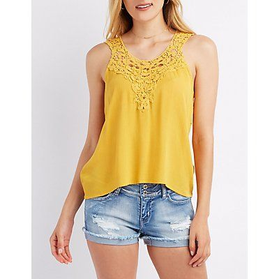 Yellow Crochet Yoke Tank Top - Size S