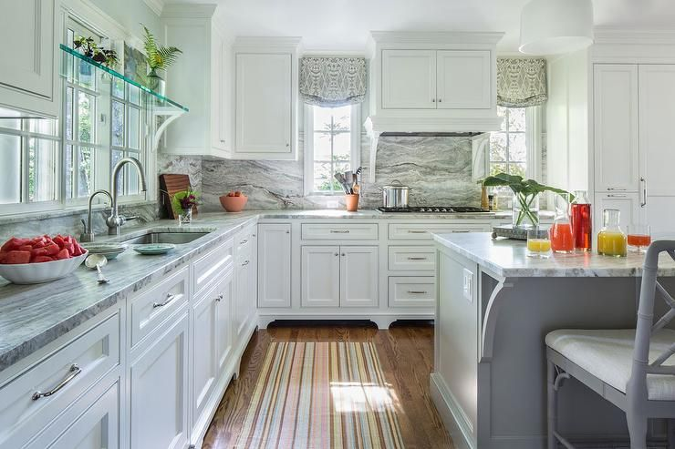 White And Gray Kitchen Features White Shaker Cabinets Paired With Impressive Kitchen Vent Hood Design Decoration