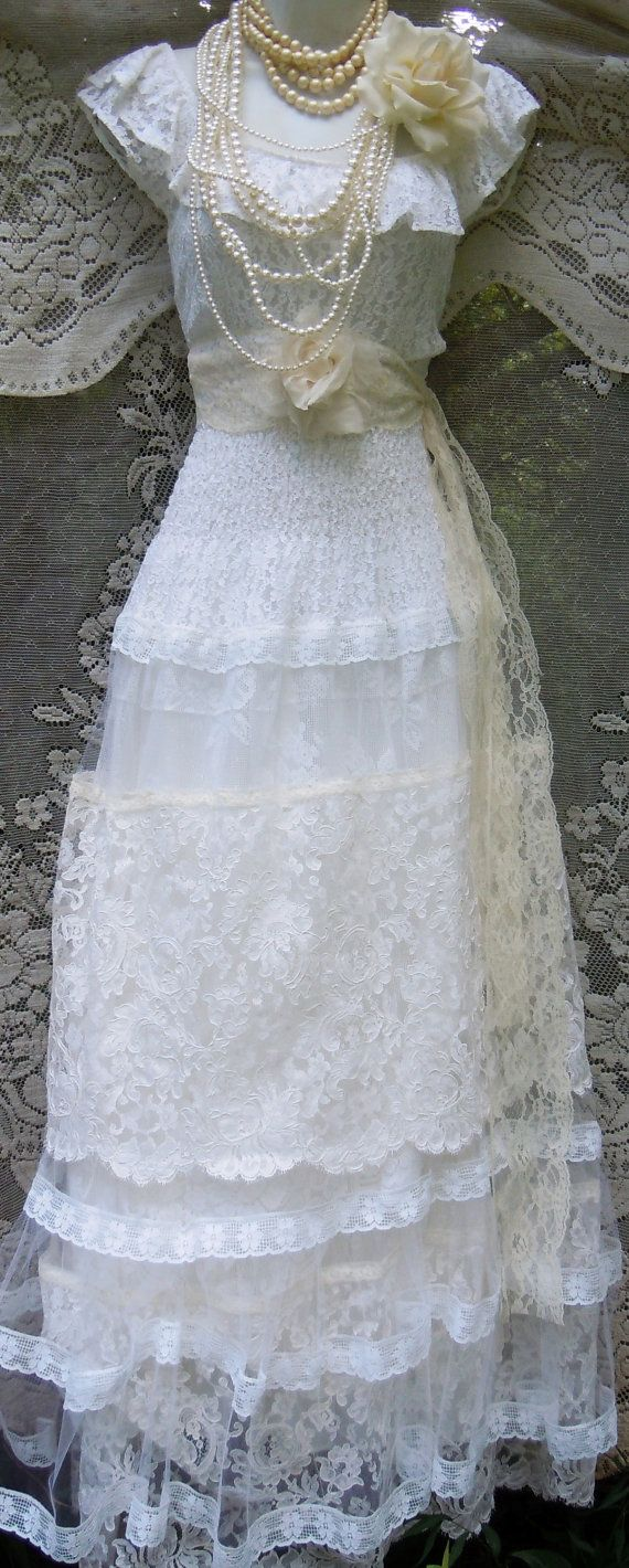 Lace wedding dress ivory tiered tulle off by vintageopulence the
