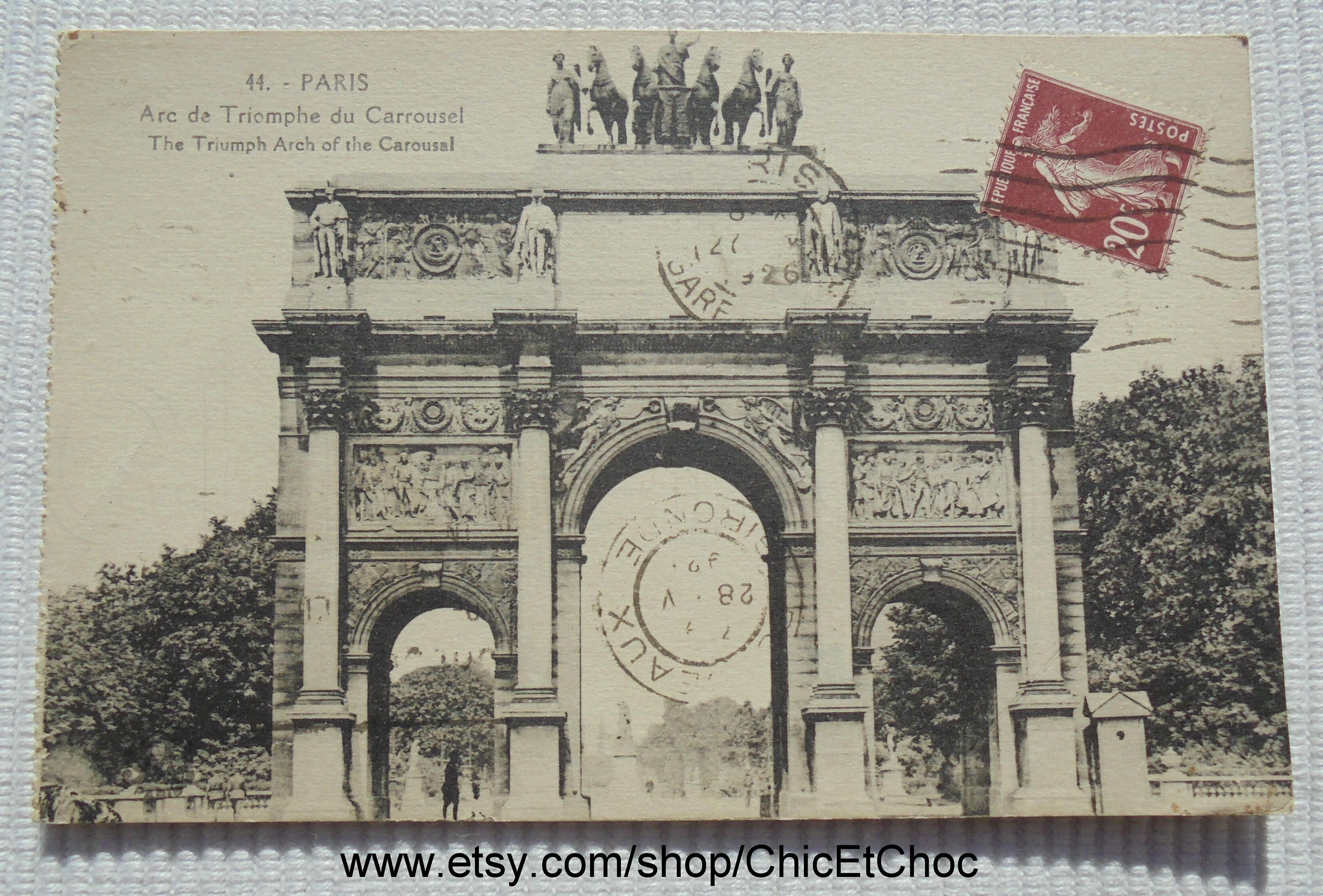 Vintage French Postcard Arc De Triomphe Du Carrousel Paris