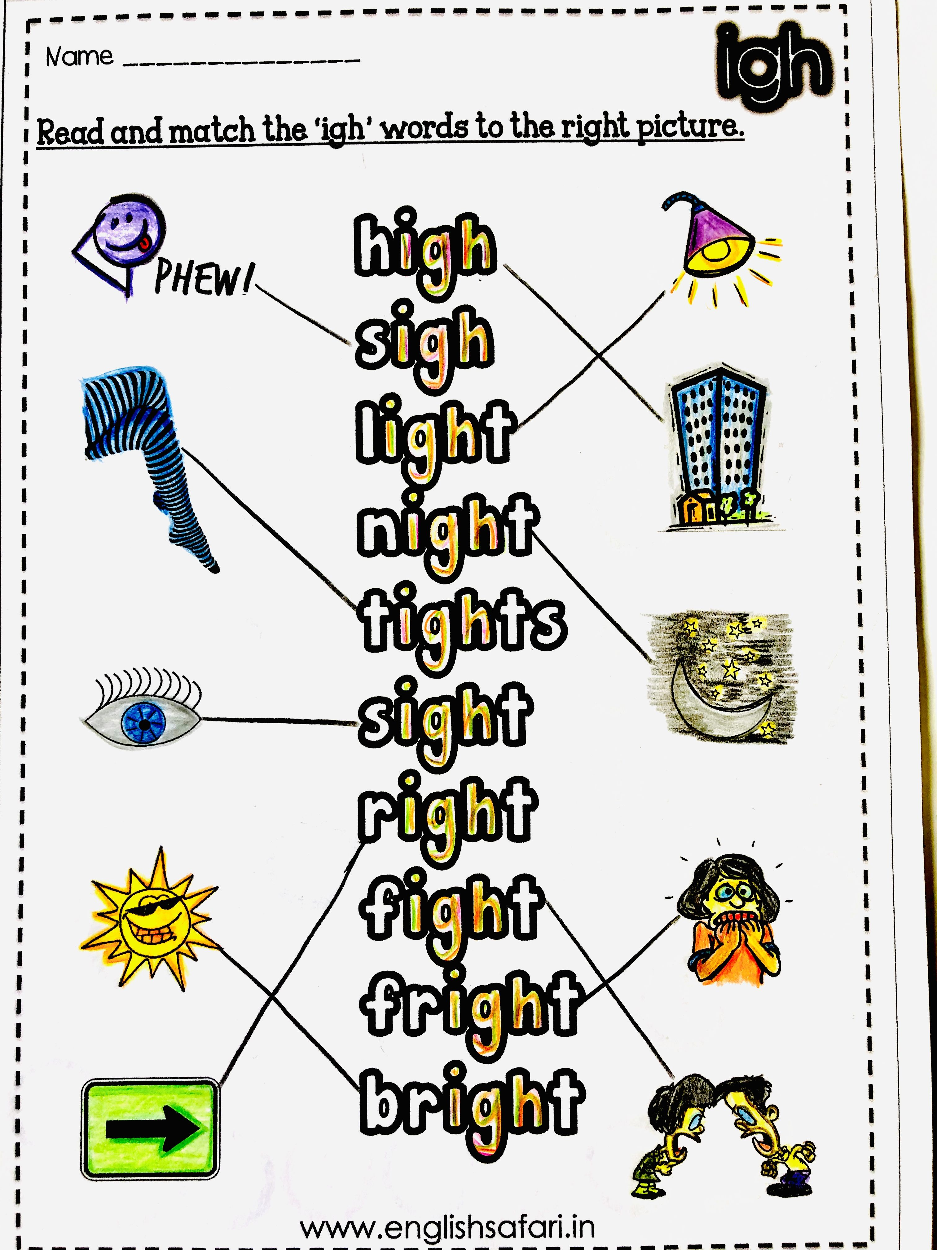 Long Vowel Sound Match Worksheets In