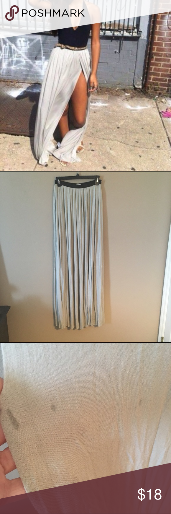 Grey Double Split Maxi Skirt Gorgeous double split maxi with black band. Tag says 0, but would fit a small 2/4 comfortably. *This is a re-posh skirt, didn't ever have a chance to wear it!  Has small water/oil markings pictured below from previous owner (not visible when wearing) Ecote Skirts Maxi