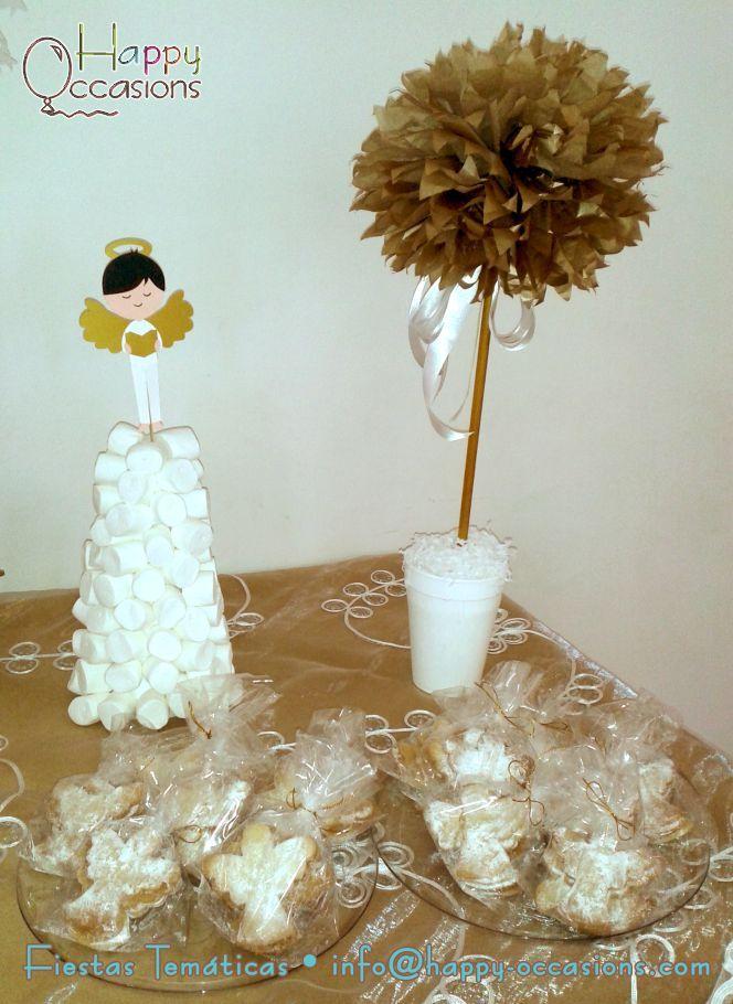 Centro de mesa y cono con masmelos con topper de angelito - Centro de mesa para comunion de nina ...