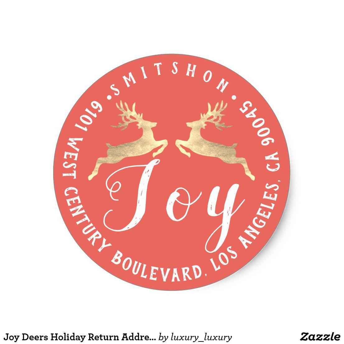 Joy Deers Holiday Return Address Coral RSVP Gold Classic