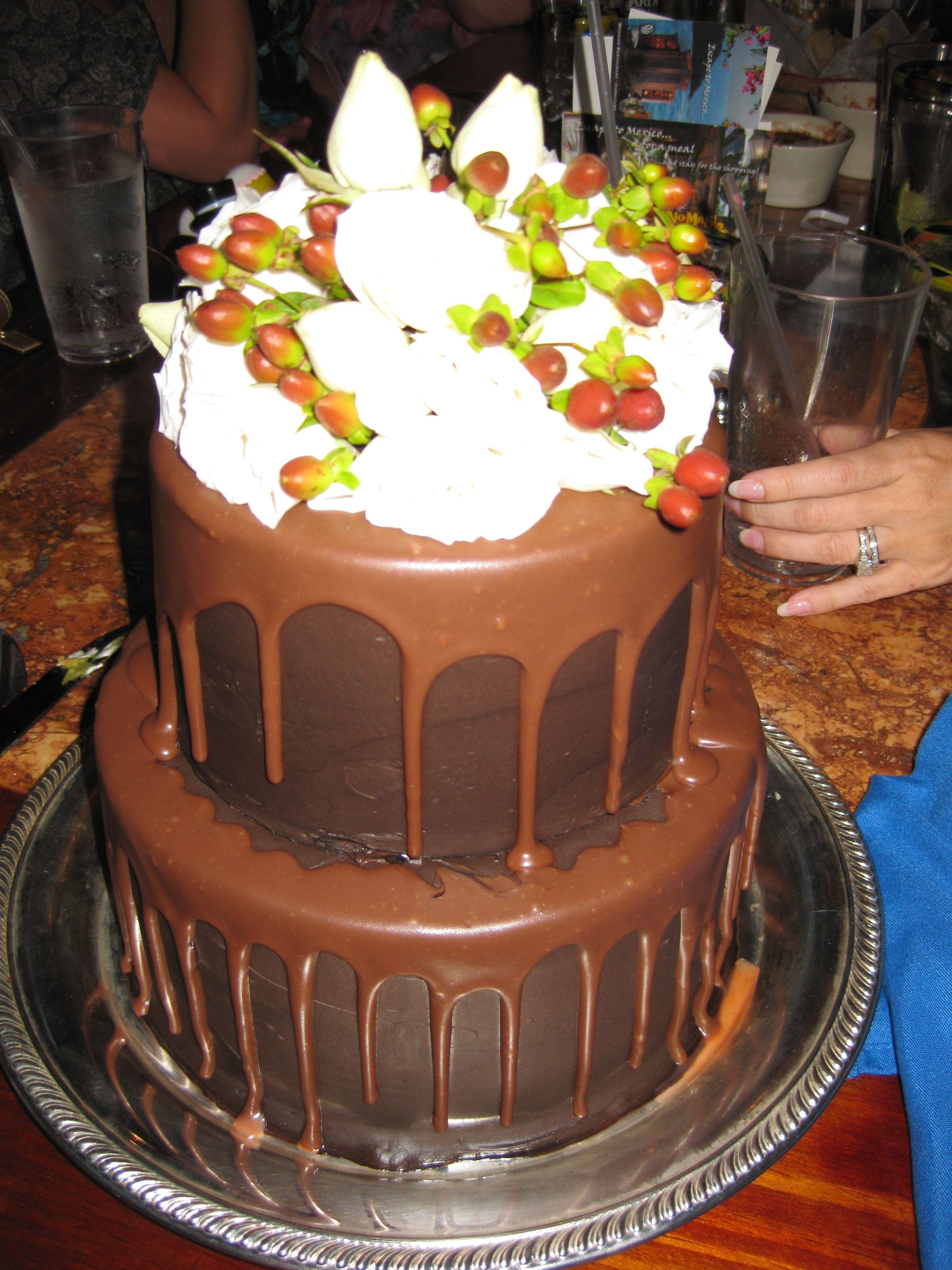 Chocolate ganache cake w fresh flowers chocolate