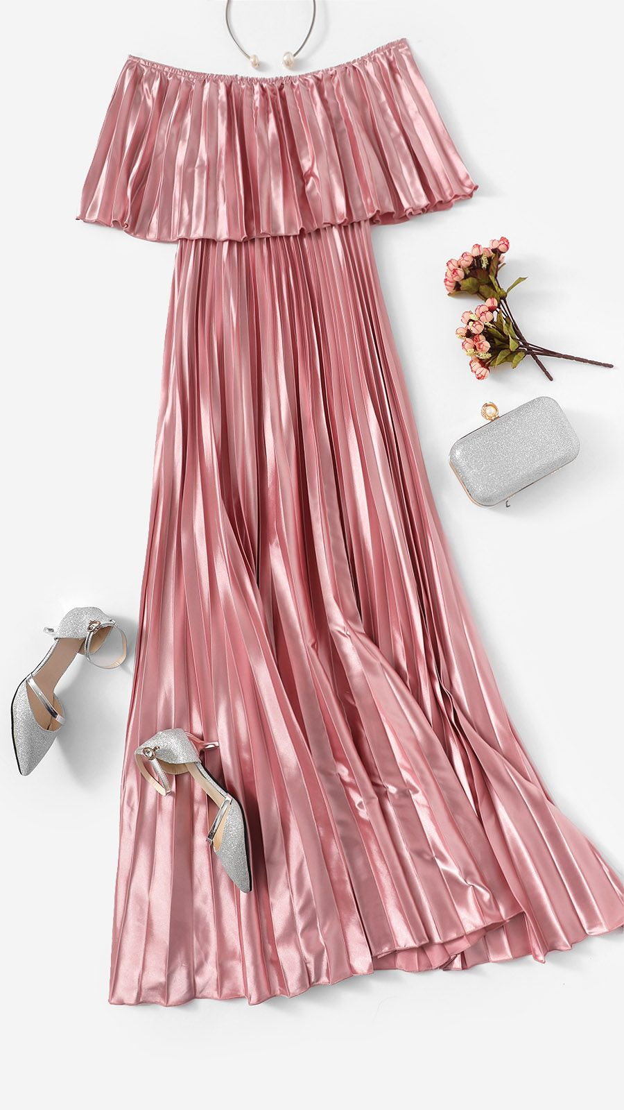 ea79438bbbd7a Pink Off the Shoulder Flounce Pleated Satin Girls Sexy Dress ...