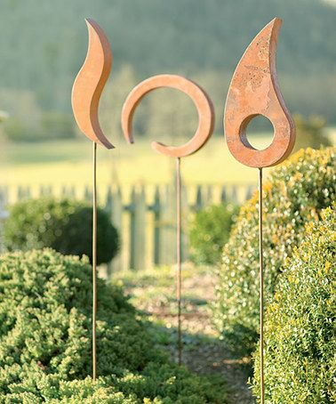 Three Piece Rustic Garden Stakes #zulilyfinds