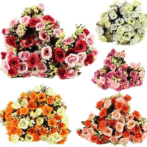 15 Heads Artificial Rose Silk Fake Flower Leaf Home Wedding Decor Bridal Bouquet Fake Flowers Flower Decorations Wedding Decorations