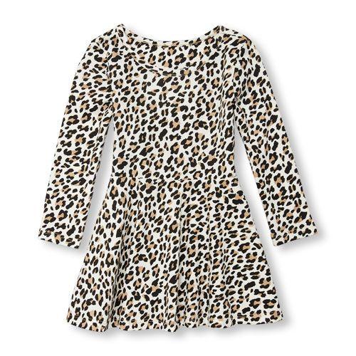 050e740a3f4f Toddler Girls Long Sleeve Leopard Print Cutout Heart Knit Dress ...