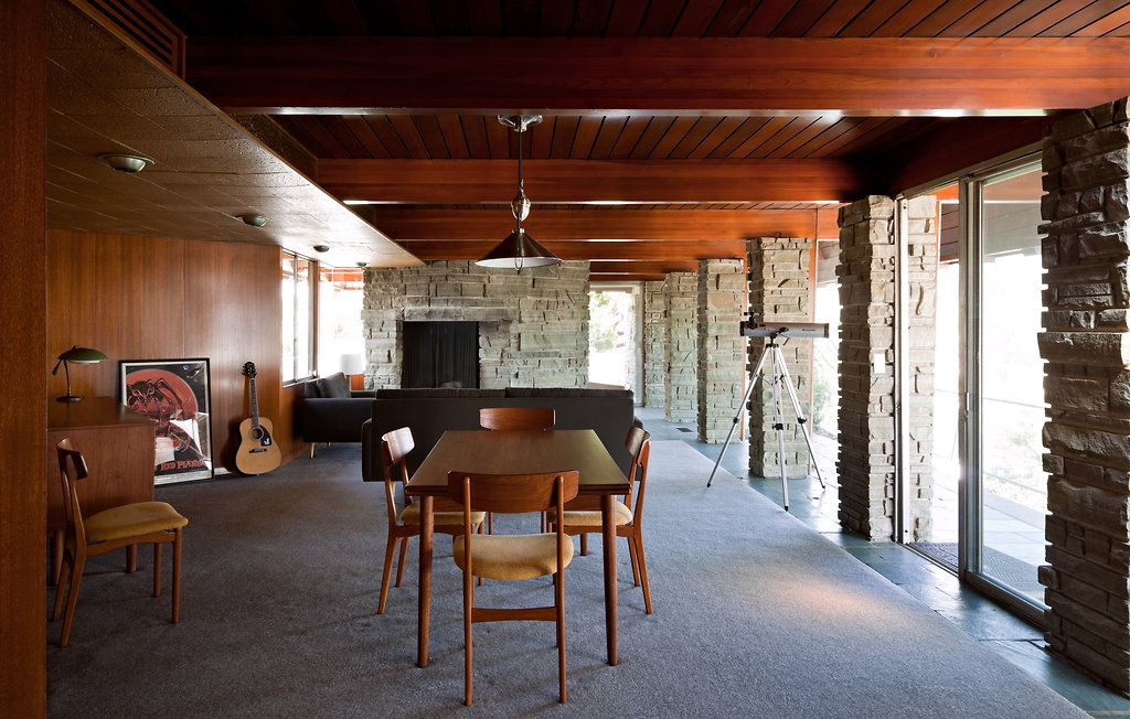 mobys castle in the hollywood hills guest house living and dining room - Midcentury Castle Design