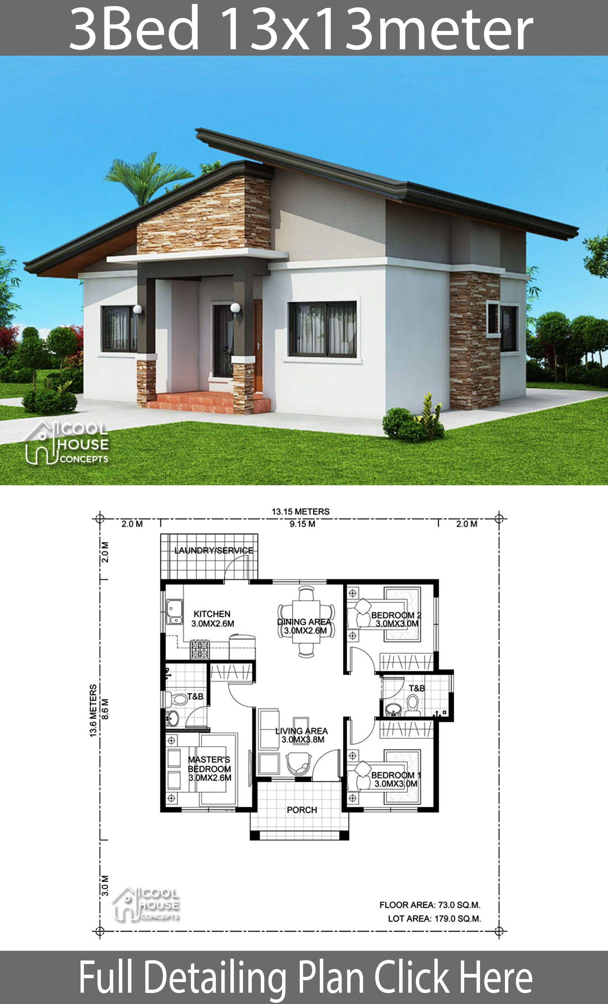 Home Design Plan 13x13m With 3 Bedrooms Home Design With Plan House Construction Plan Bungalow House Plans Architectural House Plans