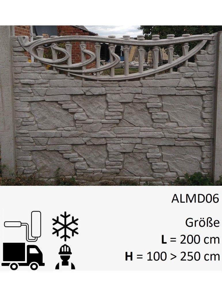 Zaun Aus Beton Almd06 Zaun Betonzaun Sichtschutzzaun Garten