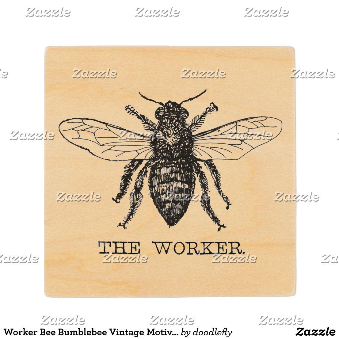Worker Bee Bumblebee Vintage Motivational Wood Coaster   Worker bee ...