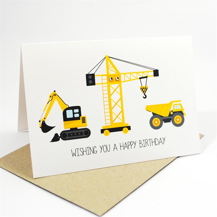 Happy Birthday Card Boy Construction Time Excavator Crane Truck Hbc163 Happy Birthday Cards Birthday Cards Baby Birthday Card
