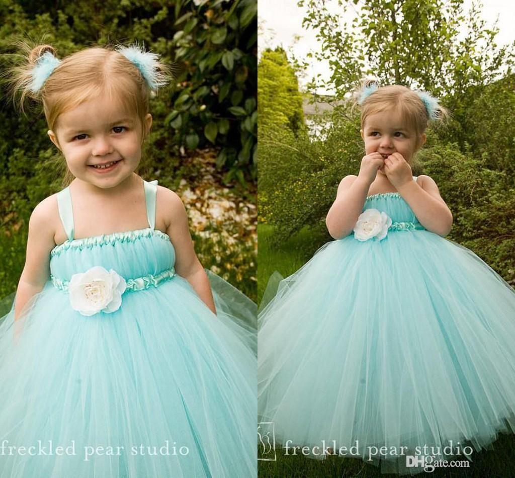 Aqua Blue Floor Length Flower Girl Dresses Children For Weddings ...