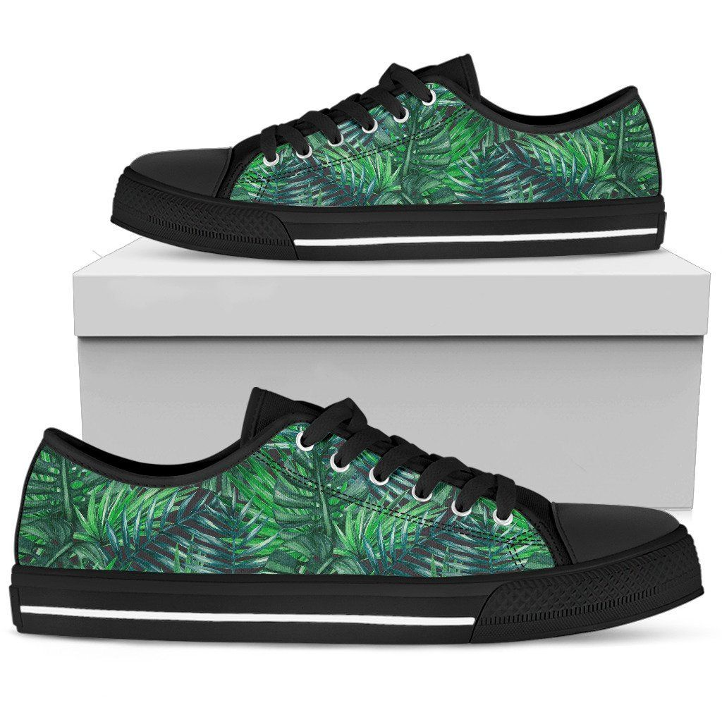 Watercolor Tropical Leaves Pattern Print Women's Low Top Shoes