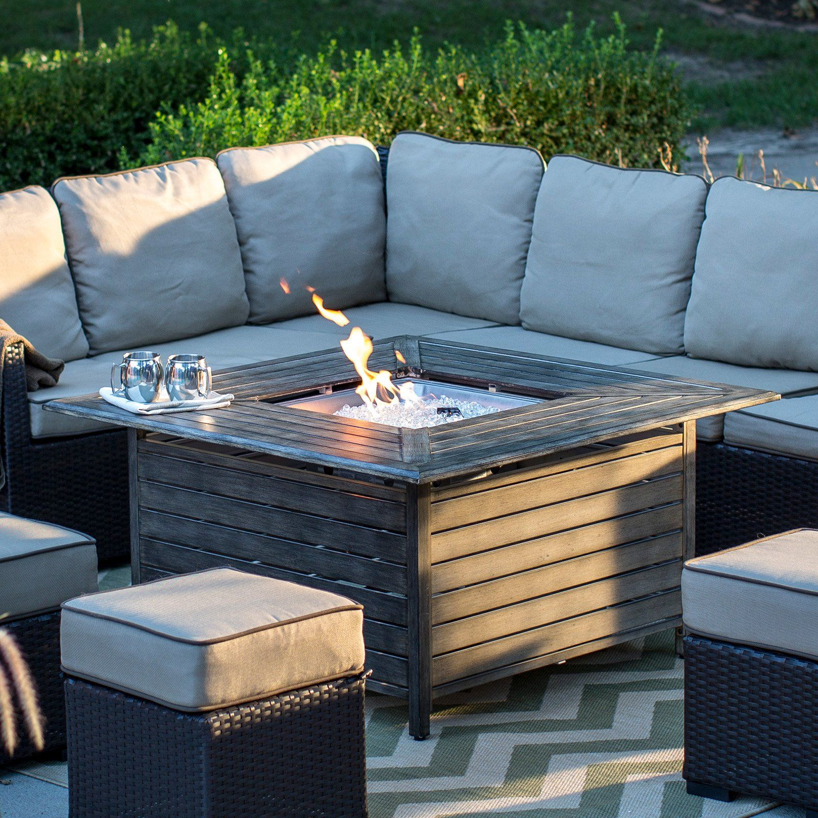 Red ember willow aluminum propane gas fire pit table from