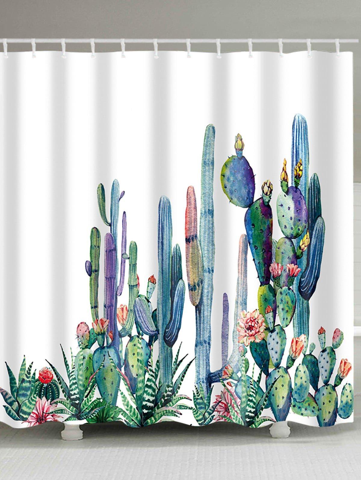 Cactus Print Mildewproof Fabric Bath Shower Curtain Cactus