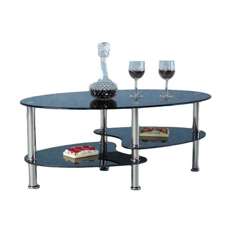 Shop Hodedah Import Hict19 Oval Glass 3 Tier Coffee Table At Atg
