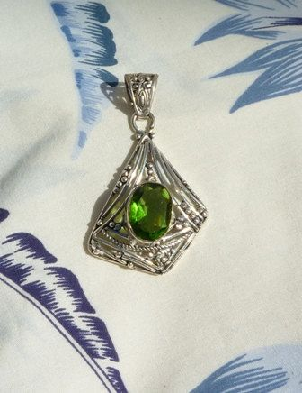 Peridot Gemstone Asymmetrical Shape Necklace by HummingbirdCove, $20.00