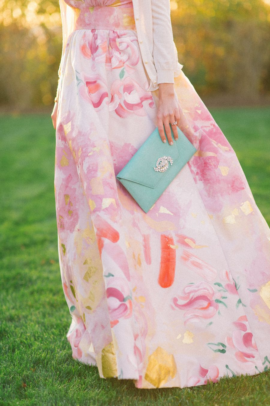 Floral print wedding dresses  Playful Pink and Gold Preppy Bridal Shoot  Bridal shoot Floral and