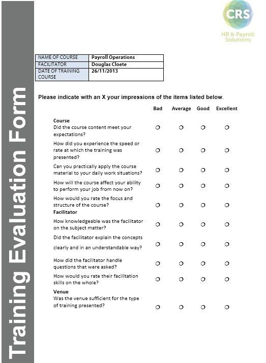 Free Sample Training Feedback Form Printable Samples Printable