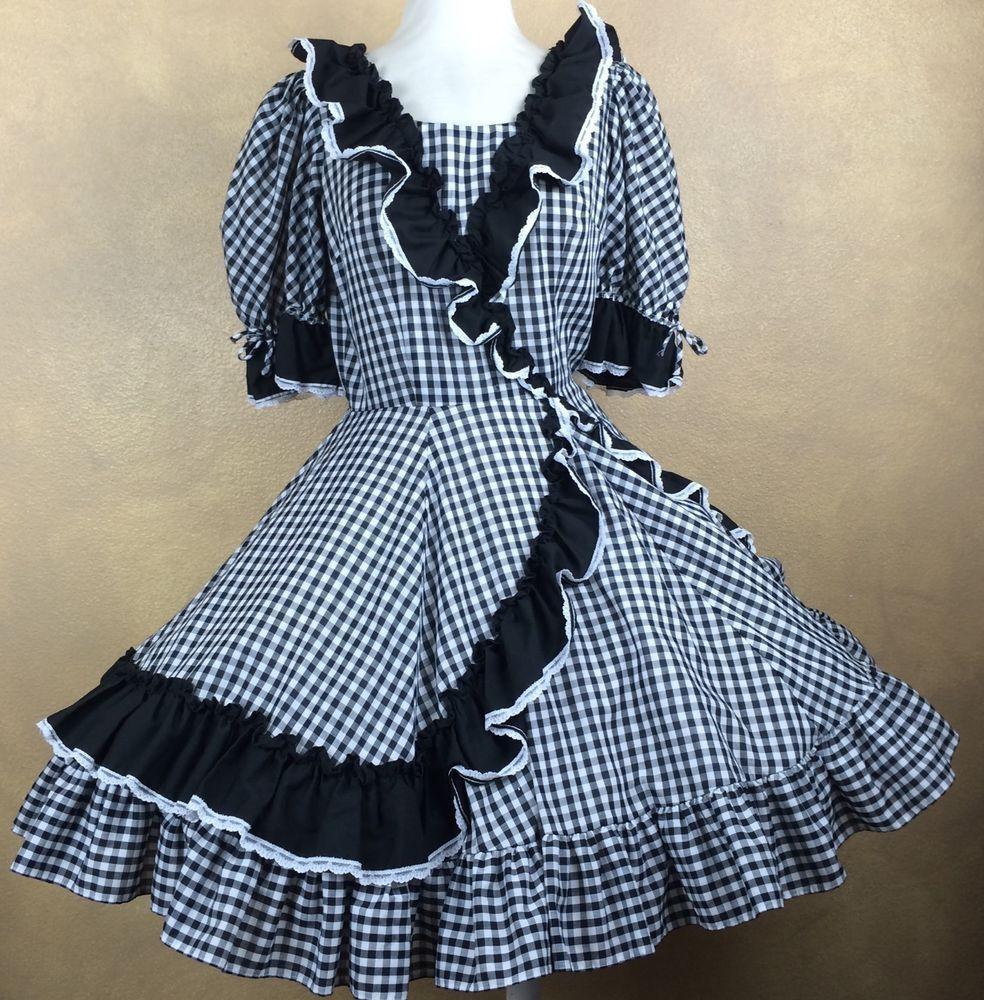 7a66eb8323 Partners Please Square Dance Dress Black White Gingham Black w White Lace  Trim 8  MalcoModes