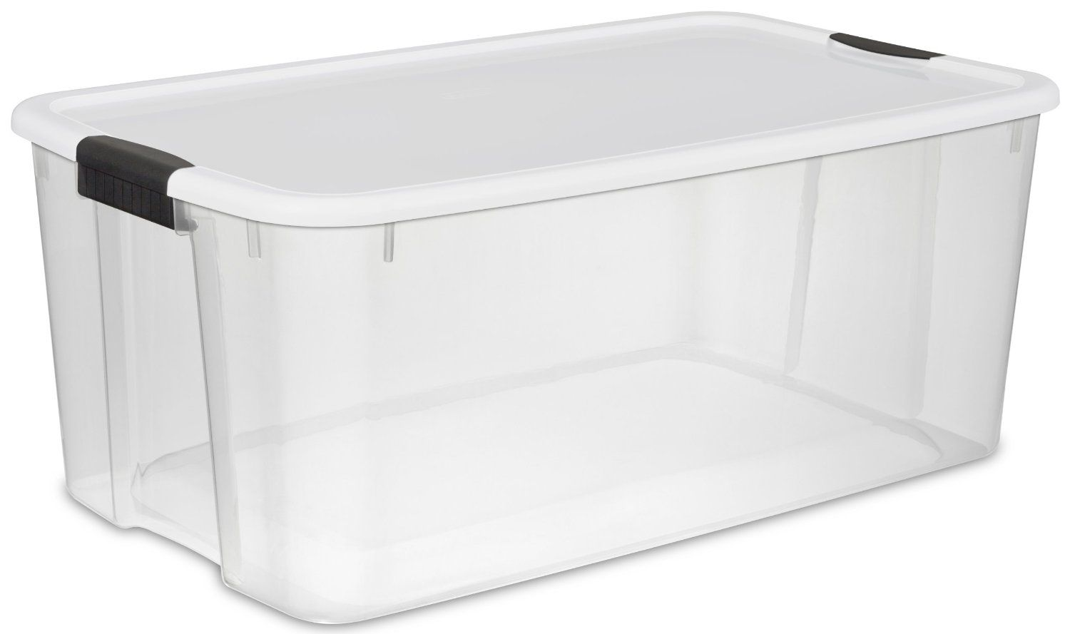 Amazon Com Sterilite 19909806 116 Quart Ultra Storage Box See Through With White Lid And Black Latches 4 Pack Lidded Home S Sterilite Storage Bins Storage
