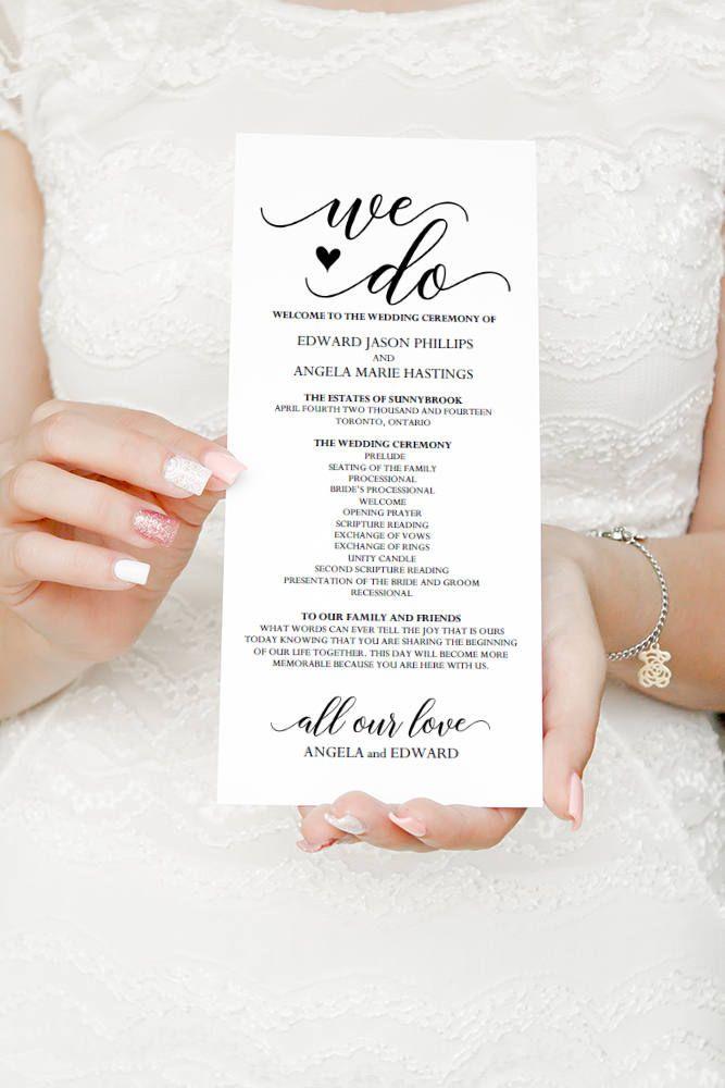 We Do Ceremony Printable Wedding Ceremony Program Timeline, DiY ...