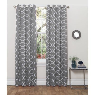 HLC.ME Lattice Print Thermal Insulated Blackout Grommet Curtain Panels Color: Gray