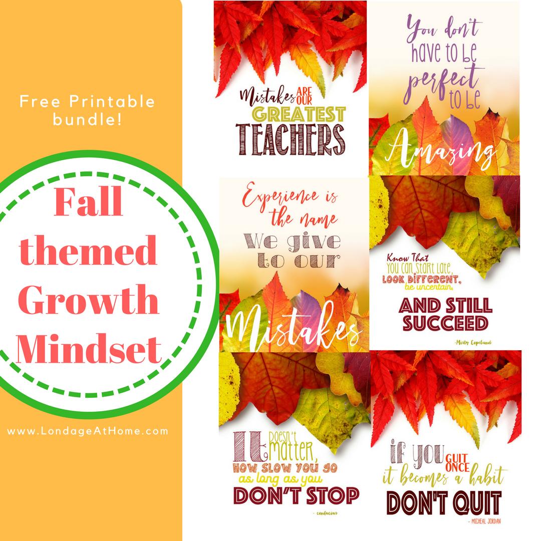 Fall Themed Growth Mindset Printable Bundle Free
