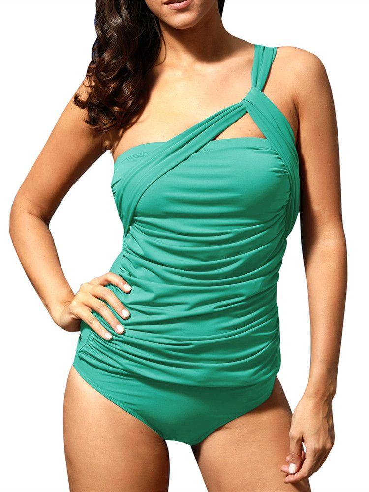 Womens One Shoulder Swimsuit Monokini Swimwear Bathing Suit Swimming Costume UK