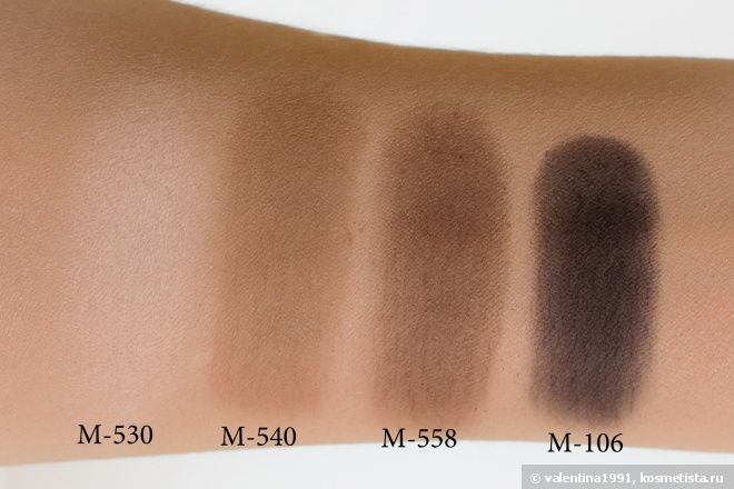 Make Up For Ever Artist Shadow M530 Eggshell, M540 Grey Beige, M558 Dark Taupe, M106 Slate