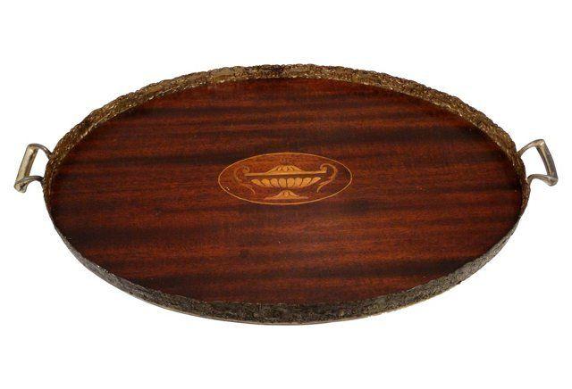 Walnut Inlaid Serving Tray w/Gallery