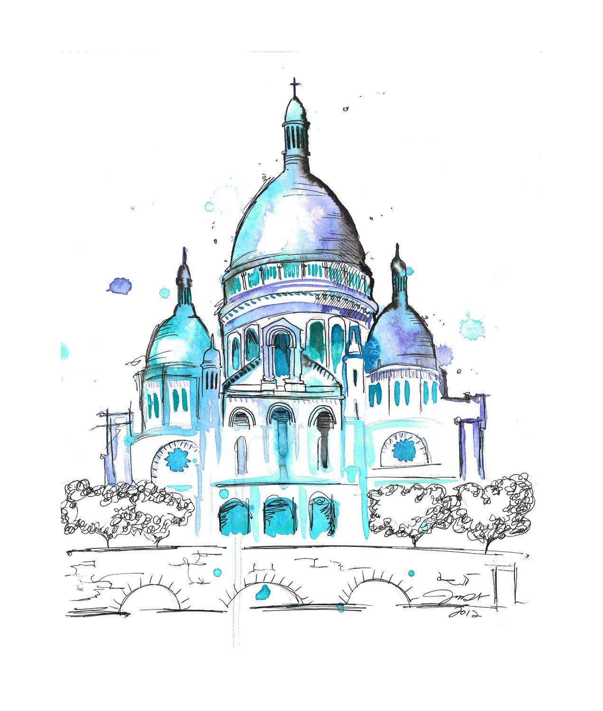 Paris Illustration: Watercolor Travel Illustration Sacre Coeur Paris, Jessica