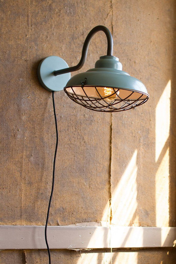 Industrial Blue Wall Sconce with Wire Cage Cover Urban