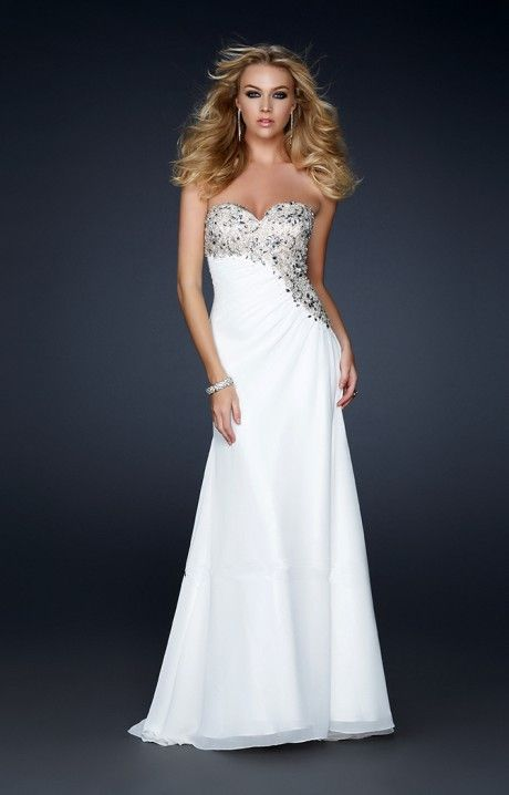 Robe soiree blanche longue