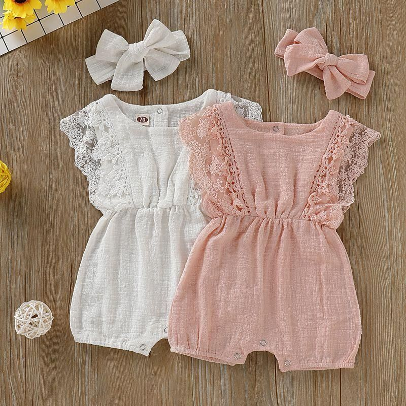 UK Summer Newborn Toddler Baby Girl Linen Top Ruffled Short Pants Clothes Outfit