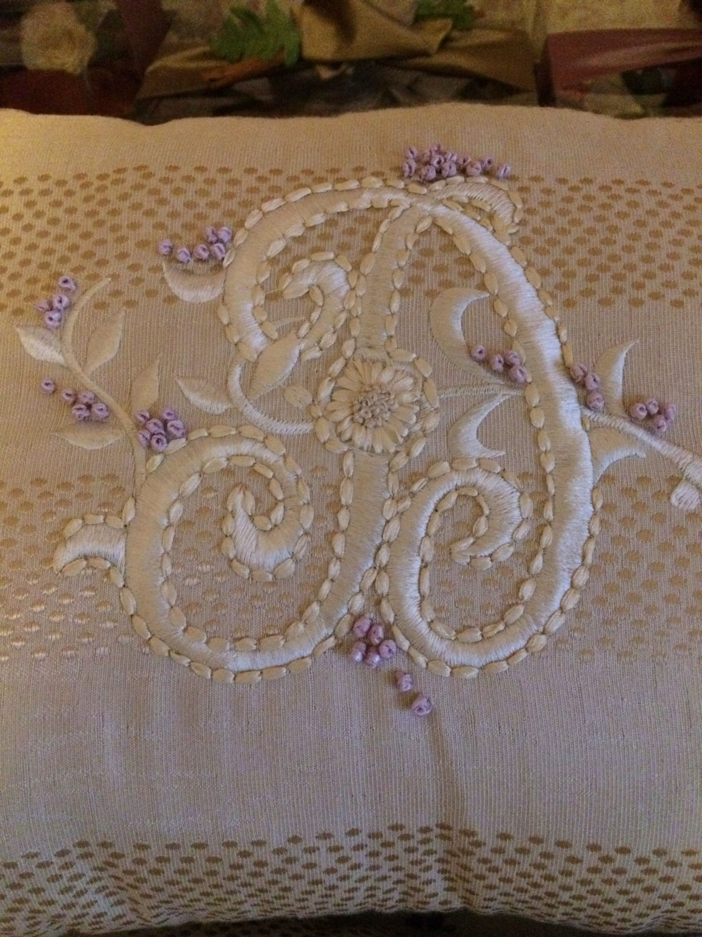Monogram in ribbon embroidery - design by MSW