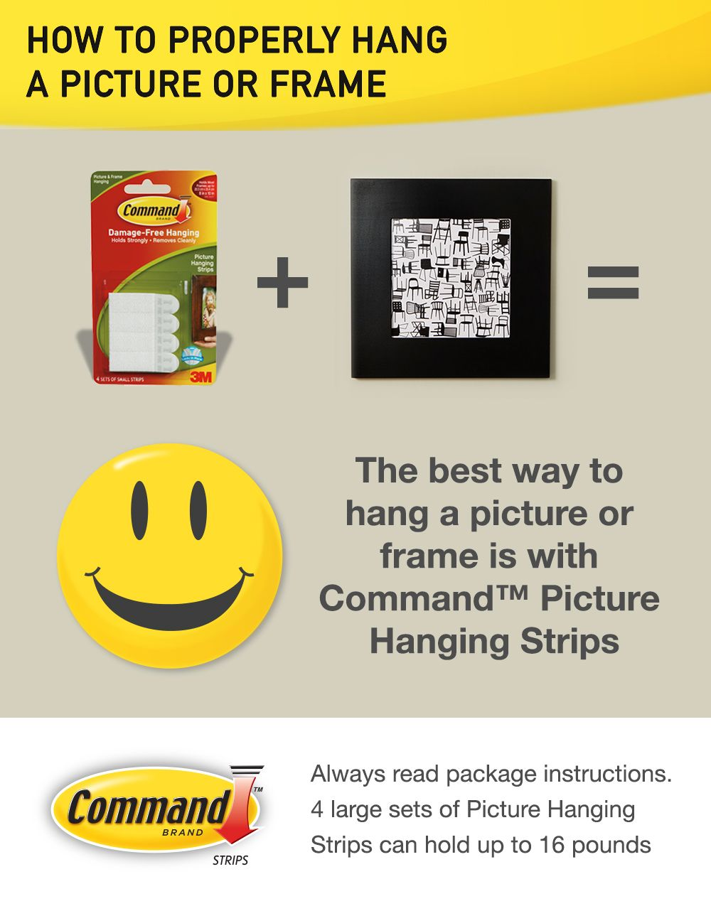 How to hang a picture or frame: use Command™ Picture Hanging