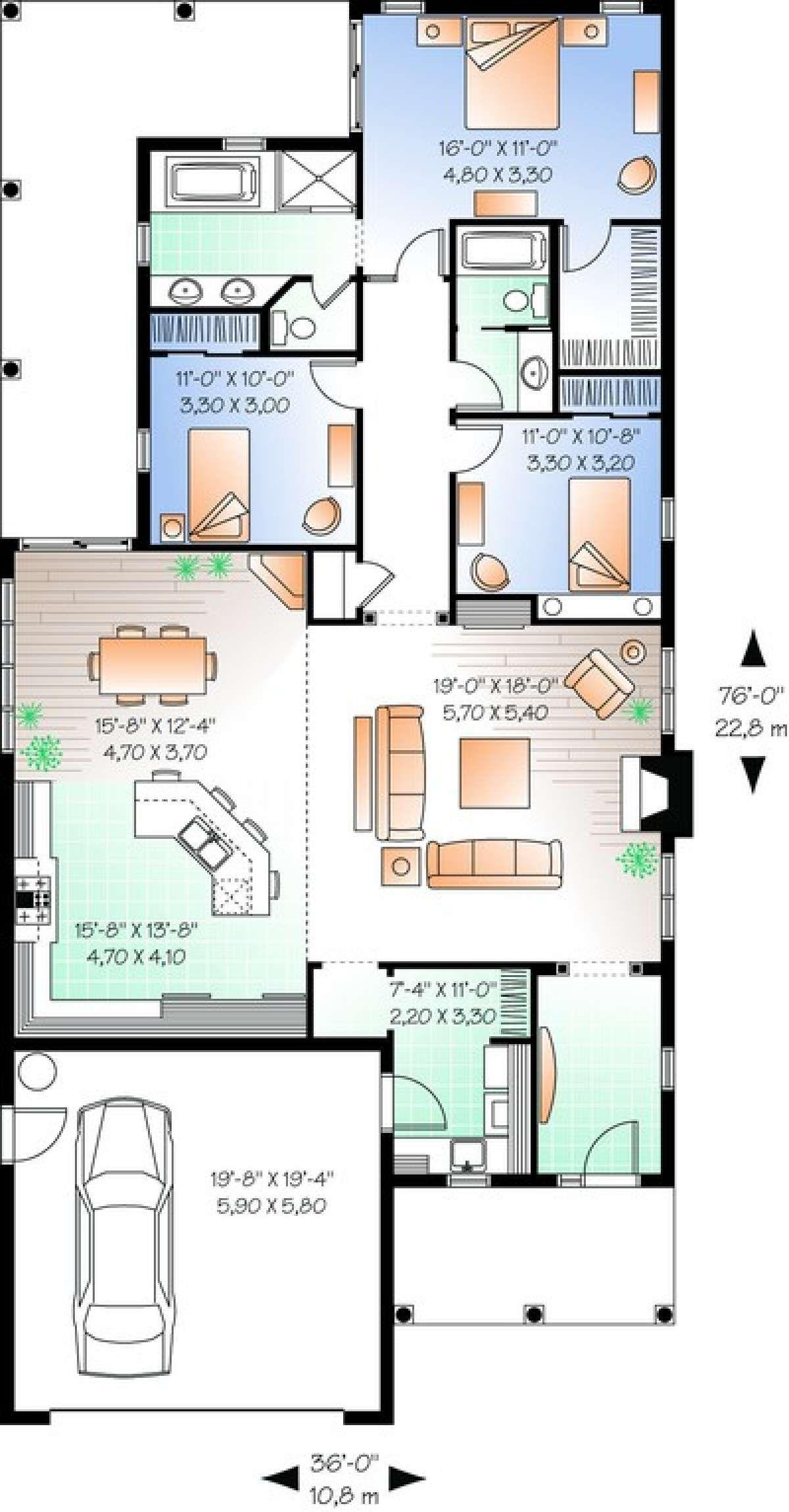 House Plan 034 00671 Narrow Lot Plan 1 838 Square Feet 3 Bedrooms 2 Bathrooms Narrow House Plans Drummond House Plans Narrow Lot House Plans