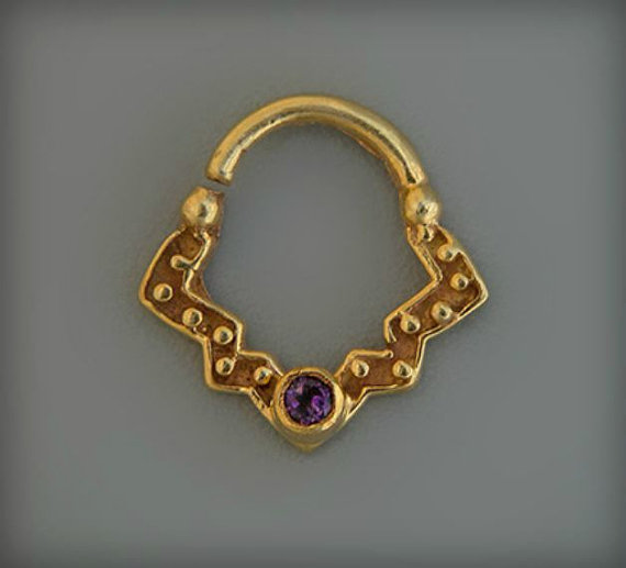 24k Gold Septum Ring With Amethyst Stone For Pierced Nose Tribal