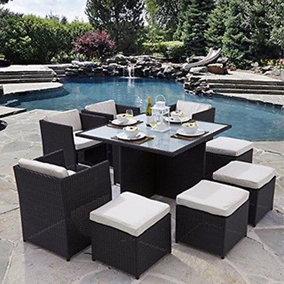 rattan garden chairs and table dining room chair covers at ikea furniture cube set outdoor patio black brown