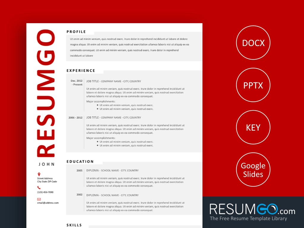 HJARTA Modern Resume Template with Gray Blocks ResumGO